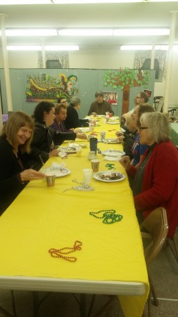 A pancake dinner in the parish hall